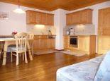 Küche/Wohnzimmer mit Balkon im Apartment Dorfblick