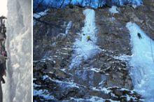 Eisklettern am Obstanser Wasserfall